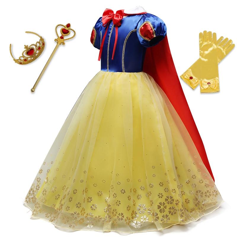 Летнее платье принцессы для девочек, костюм Белоснежки для косплея, детское платье с пышными рукавами, детвечерние вечеринка, нарядное плат...