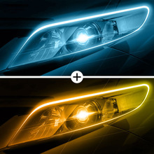 2pcs/lot Dual Color Ice Blue / Amber Daytime Running Lights Waterproof Car Turn Signal Guide Strip for Headlight Assembly
