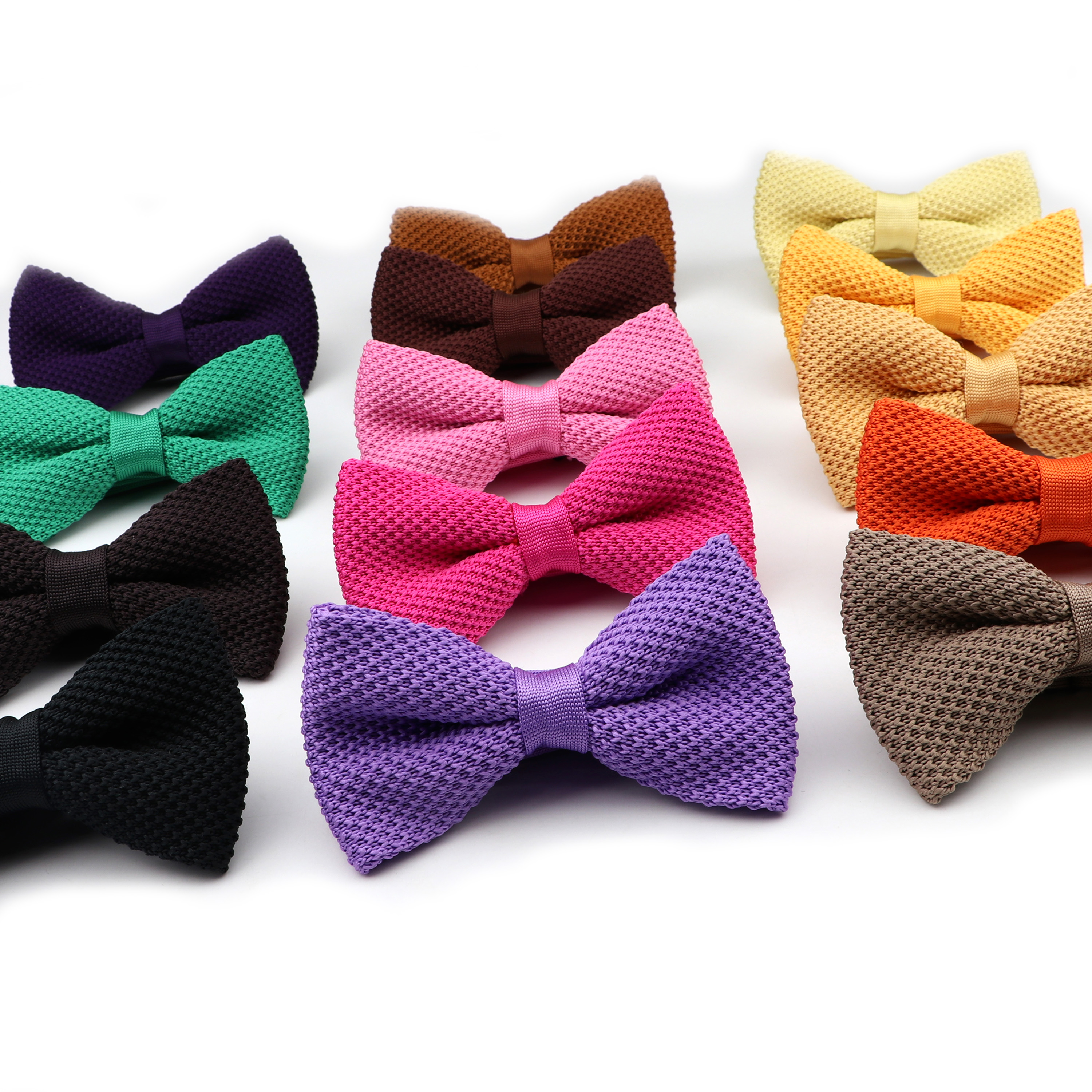 Solid Color Single Deck Women Knitted Bowtie Leisure Fashion Adjustable Butterfly Woven Designer Knitting Dress Knit Bow Tie