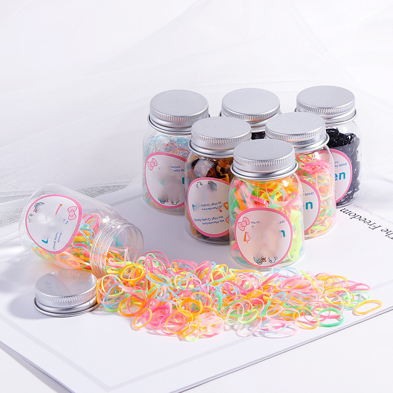 New 200/100PCS Disposable Rubber Band Canned Children's Baby Color Fashion Elastic Hair Band Ring Scrunchie Rope Accessories