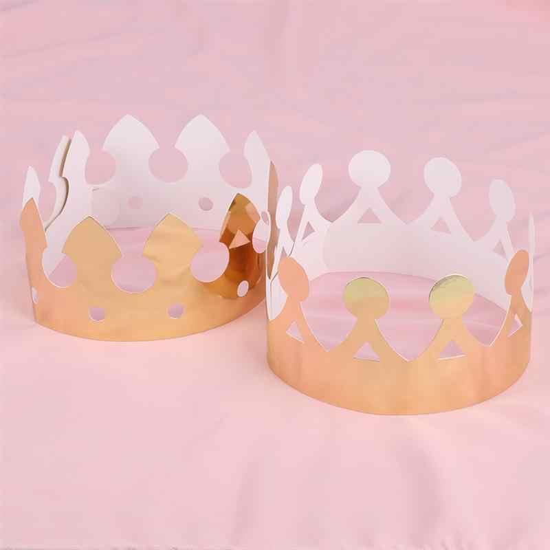 12 Uds sombreros en forma de corona de oro gorro de corona de niño celebración de cumpleaños sombrero de fiesta de bebé suministros de fiesta accesorios de foto