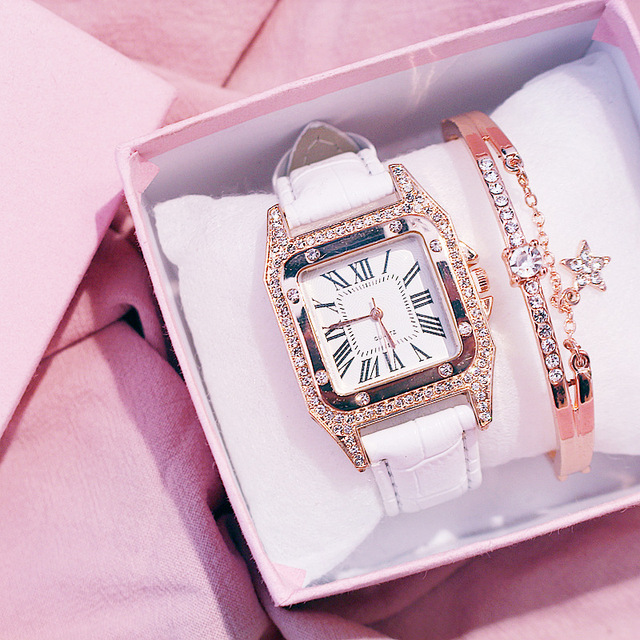 Diamond Luxury Bracelet set Ladies Casual Leather Band Quartz Wristwatch 3