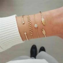 4 Pcs/set Womens Fashion Exquisite Crystal Leaf Geometric Chain Gold Bracelet Set Bohemian Vintage Jewelry Accessories