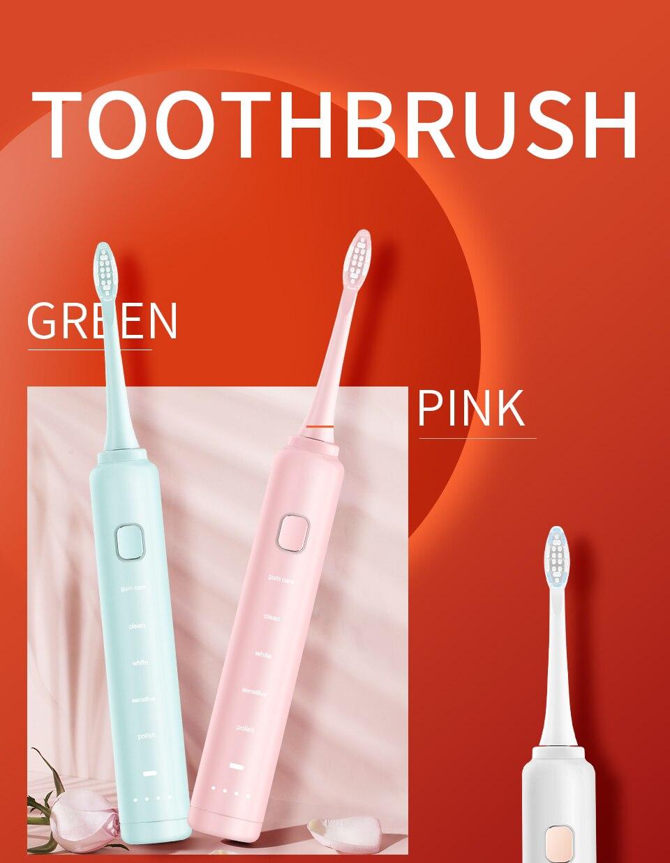 dentes elétrica usb recarregável escovas de dente
