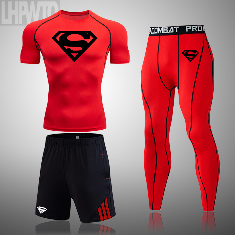 Men's Brand Clothes Superman Sportswear Compression Set rashgard male summer Short sleeve Tights training base leggings T-shirt