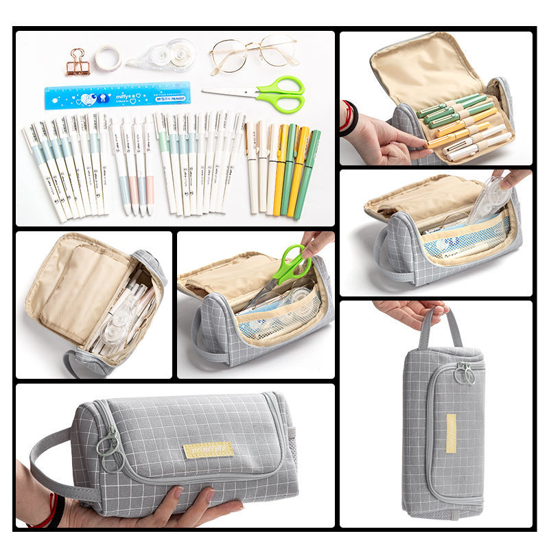Creative  Canvas Large Capacity And Multiple Colour  Pencil Case 5