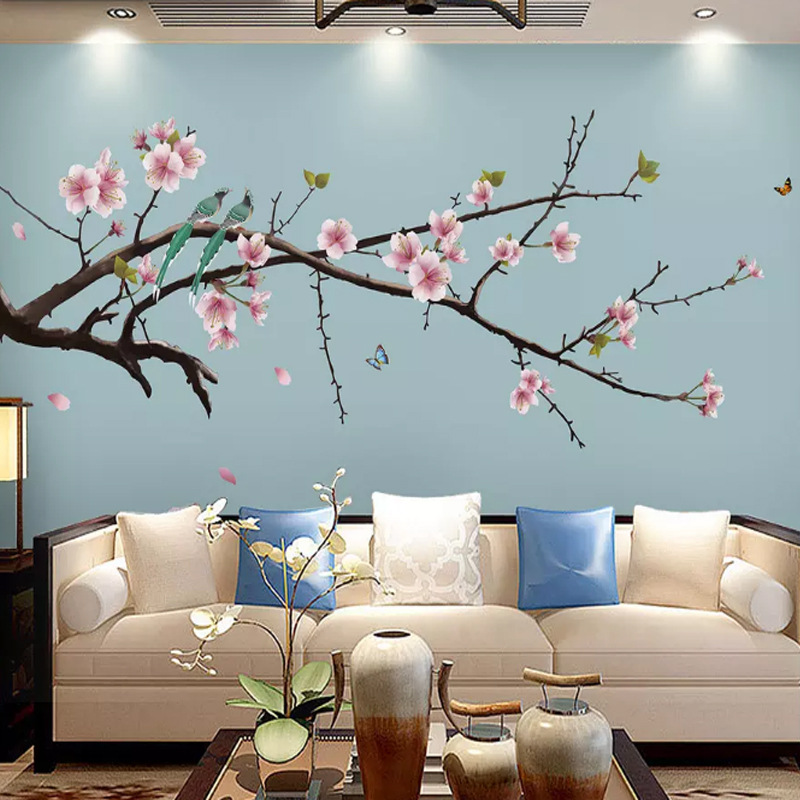 New Chinese Style TV Backdrop Wallpaper Ginkgo Hand-Painted Fine Brushwork Mural Flowers And Birds Living Room Wall Cloth Seamle