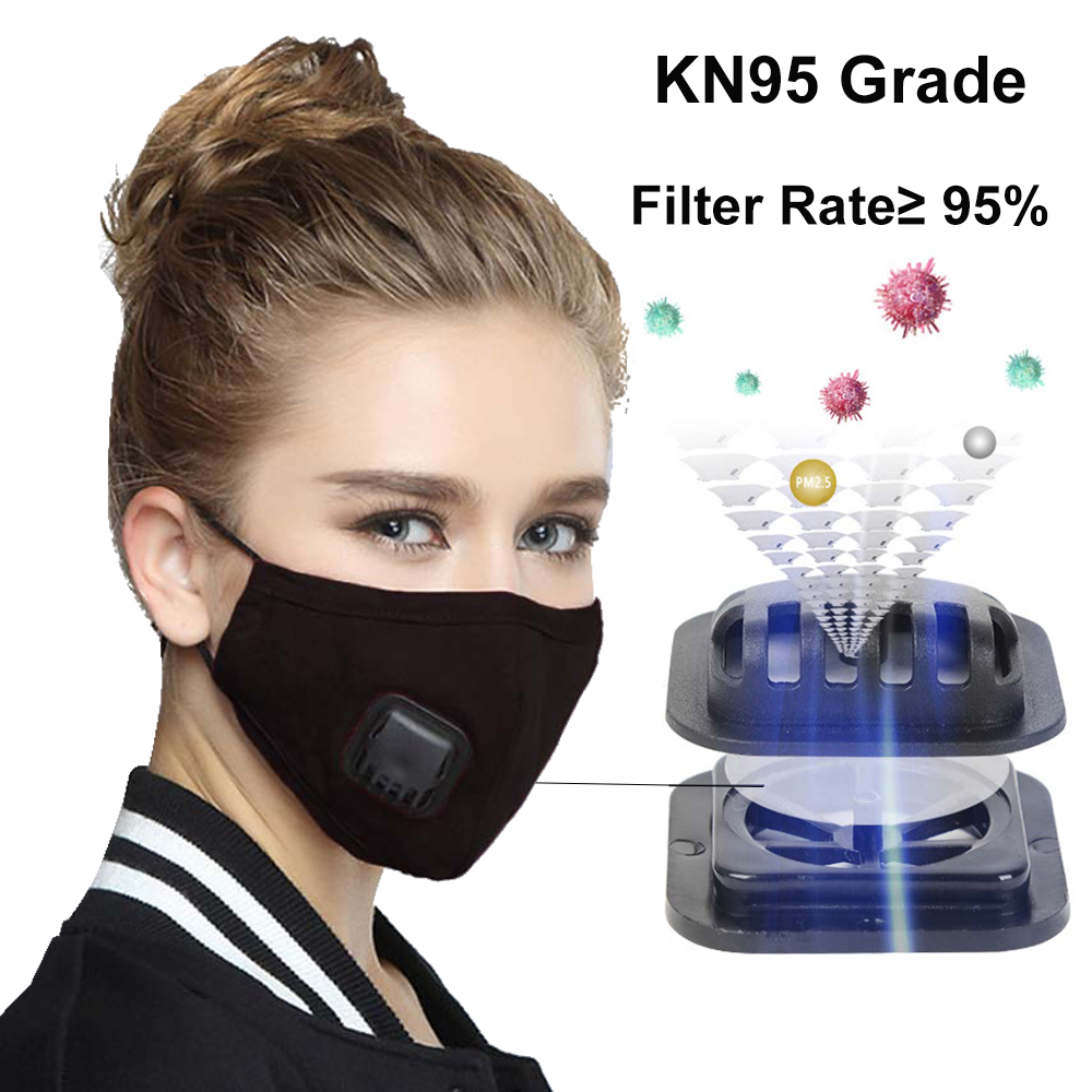 KN95 Anti Pollution PM2.5 Mouth Mask Dust Respirator Washable Reusable Masks Cotton Unisex Mouth Muffle With 2PCS Filters