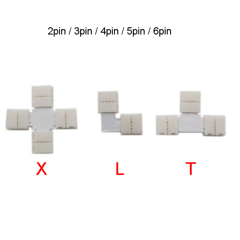 5set L T Shape 2pin 3pin 4pin 5pin 6pin LED Connector For Connecting Corner Right Angle 5050 SMD RGB RGBW 3528 2812 LED Strip