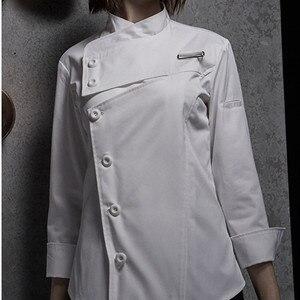 Image 5 - נקבה שחור לבן פולי כותנה ארוך שרוול חולצה & סינר מלון מסעדת שף אחיד קייטרינג מטבח צוות לבשל בגדי עבודה d33