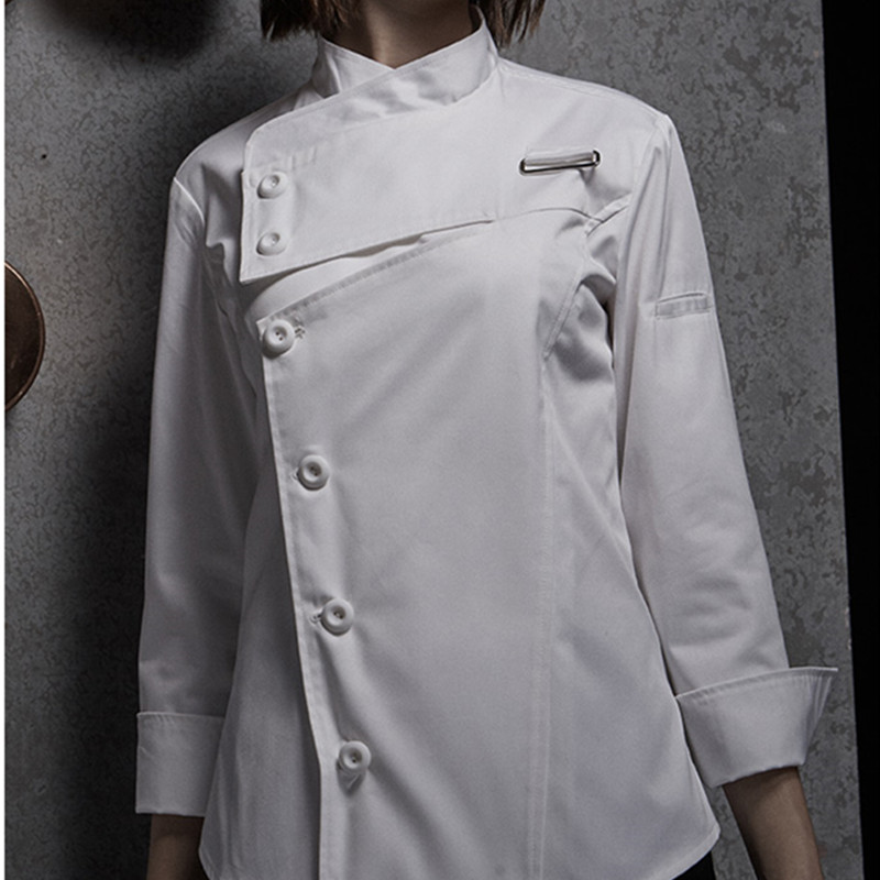 Weibliche Schwarz Weiß Poly Baumwolle Langarm Shirt & Schürze Hotel Restaurant Koch Uniform Catering Küche Mitarbeiter Kochen Arbeit Tragen d33 - 5