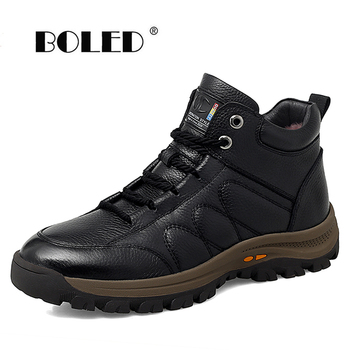 High Quality Natural Leather Winter Boots Men Warm Plush Ankle Snow Comfortable Outdoor Shoes