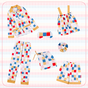 Image 2 - JRMISSLI pyjama pour femme à carreaux, 7 pièces, en coton, vêtements domestiques, vert, collection 2020