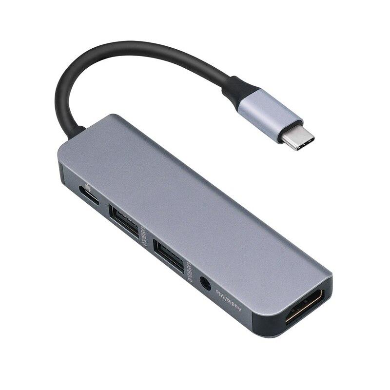 5-In-1 Type-C Docking Station HUB To HDMI USB3.0+USB2.0 PD Audio USB C Hub
