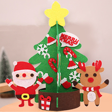 DIY Felt Christmas Tree Snowman with Ornaments Fake Kids Toys Party Decoration New Year
