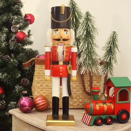 50CM ahşap fındıkkıran asker şekli kukla noel yeni yıl hediye dekorasyon|Kolye ve Askı Süsleri|Ev ve Bahçe -