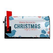 Зимний векторный набор, коллекция рождественских подарков, чехол для почтового ящика с Новым годом, почтовый ящик, магнитный почтовый ящик, ...