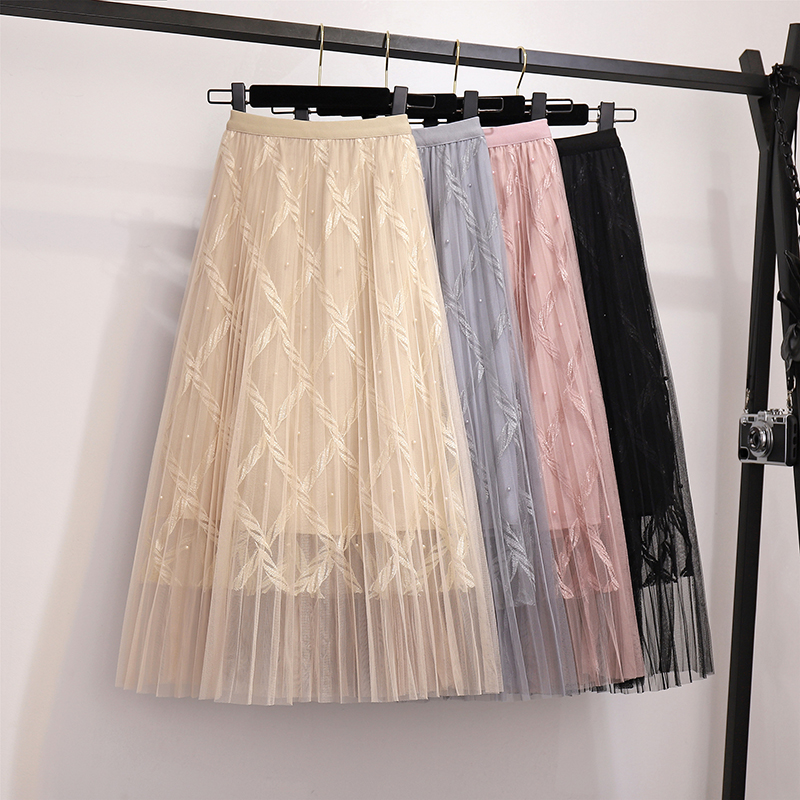 Zoki Fashion Mesh Women Long Skirt Elegant Spring Summer A Line Pearl High Waist Korean Female Party Tulle Midi Pleated Skirt