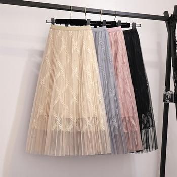 Zoki Fashion Mesh Women Long Skirt Elegant Spring Summer A Line Pearl High Waist Korean Female Party Tulle Midi Pleated Skirt