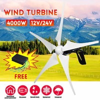 4000W Wind Power Electricity Generator 12V/24V 5 Wind Blades Horizontal Wind Generator With Controller Wind turbines Blade