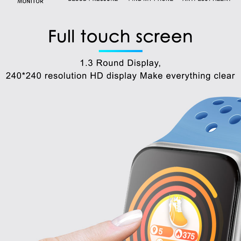 F9 s PK iwo8 b57 Touch Screen smart watches to Monitor Heart rate and Blood pressure Supported for IOS Android for men women 8