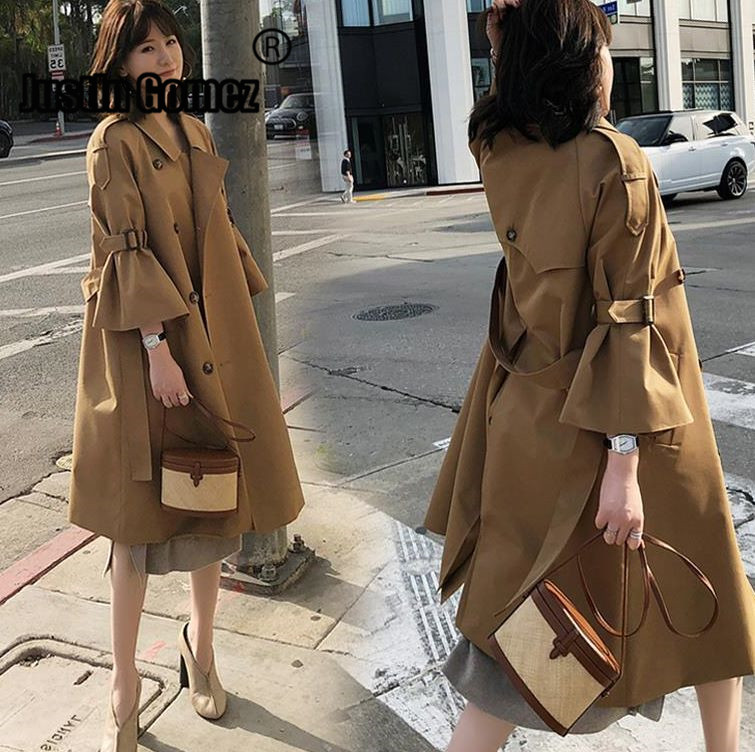European Fashion Flare sleeve double breasted Medium-Long   Trench   coats , Luxury flare Sleeve fall Winter Female overcoat