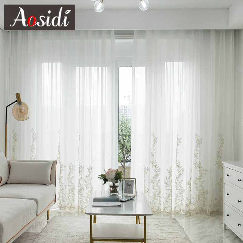 White Tulle Pastoral Curtain Voile Living Room Decoration Chiffon Polyester Home
