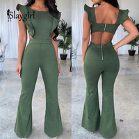 Slaygirl 2019 Sexy Rompers Womens Jumpsuit Ruffles Casual Long Jumpsuit Women Elegant Summer Female Party Jumpsuit Lady Overalls
