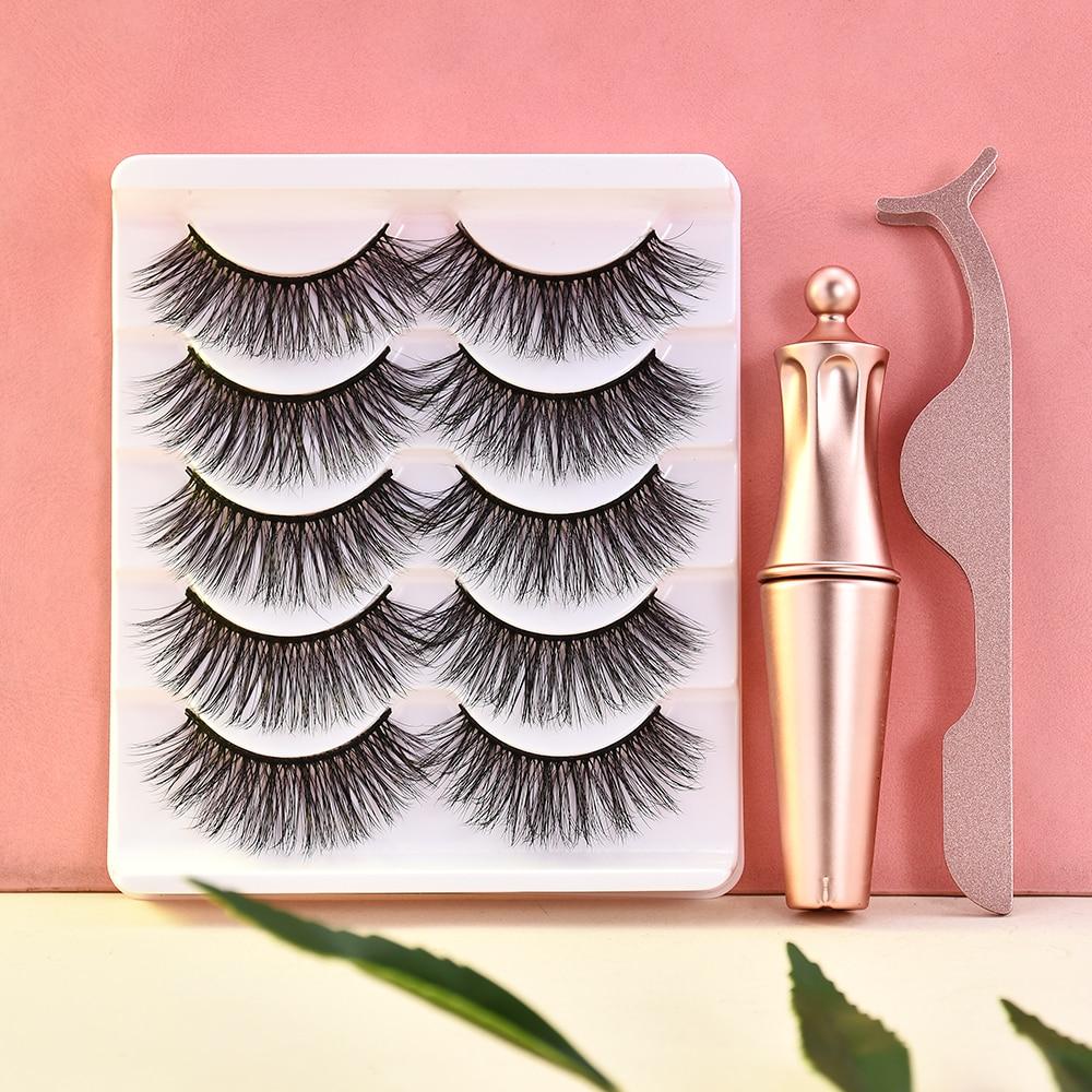 5/3 Magnet Eyelash Magnetic Liquid Eyeliner & Magnetic False Eyelashes & Tweezer Set Waterproof Long Lasting Eyelash Extension
