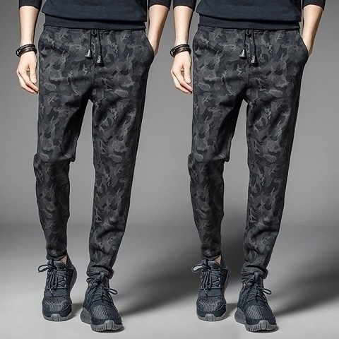 Men's Trousers Summer Casual Sports Pants Korean-style Trend Pants Men's Ankle Banded Pants Loose-Fit Trousers Men Camouflage Ha