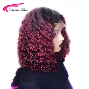 Image 2 - Carina Ombre Dark 99J 13X3 Lace Front Human Hair Wigs With Black Roots Preplucked 130%density Curly Lace Front Wigs