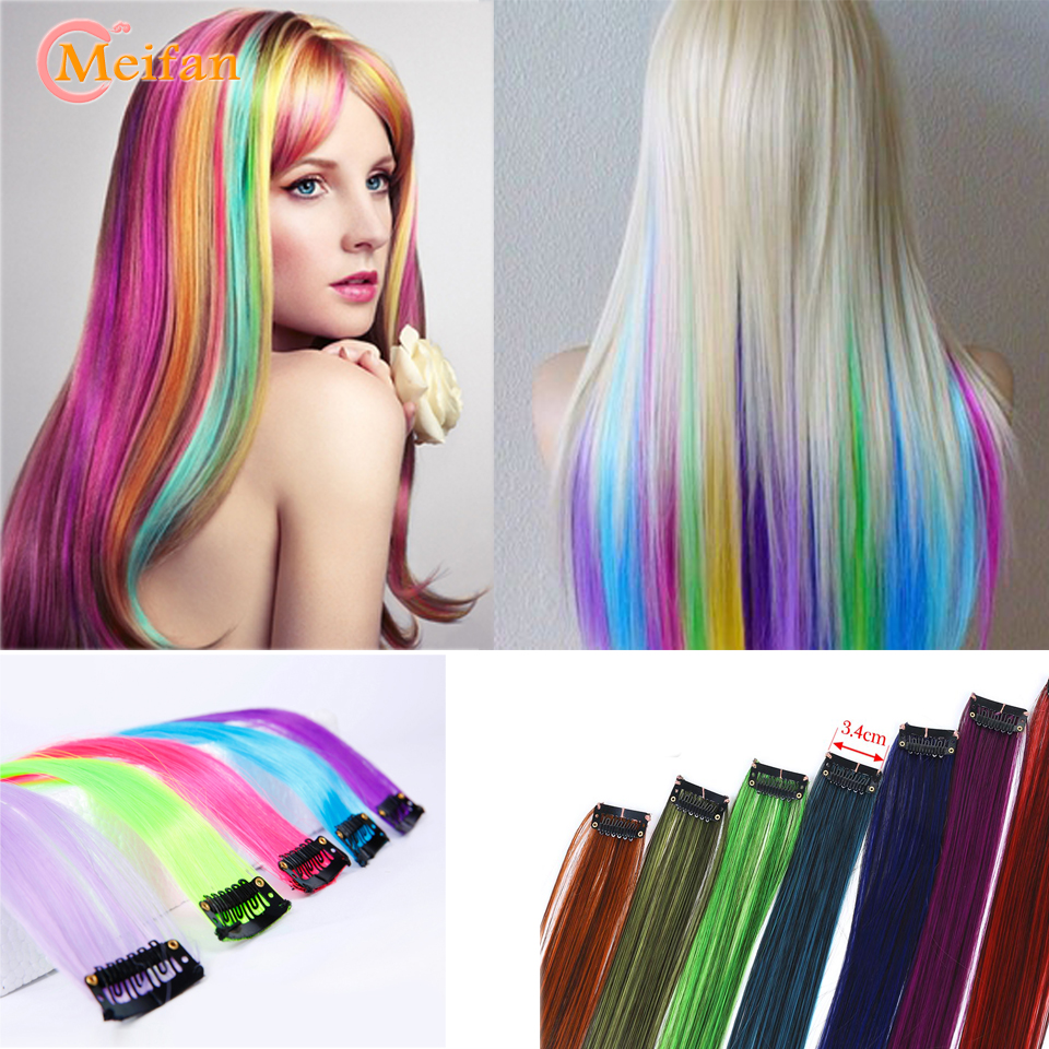 MEIFAN long straight false color Hair Extensions Clip highlight rainbow hair Streak pink synthetic hair strands on Clip   Headwear