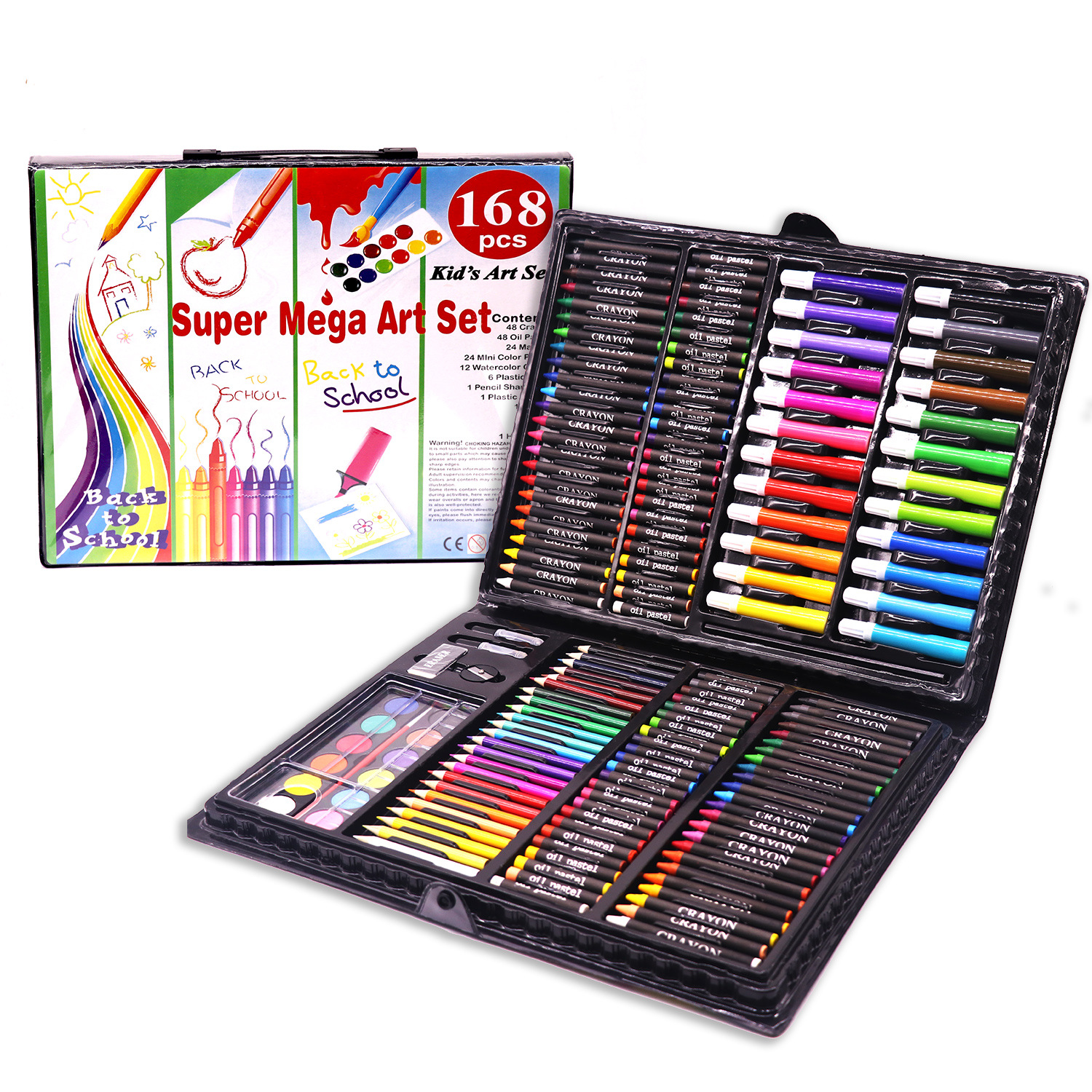 Children Stationery Brush 168-Piece Painting Kit Color Lead Crayon Young STUDENT'S Fine Art Learning Stationery