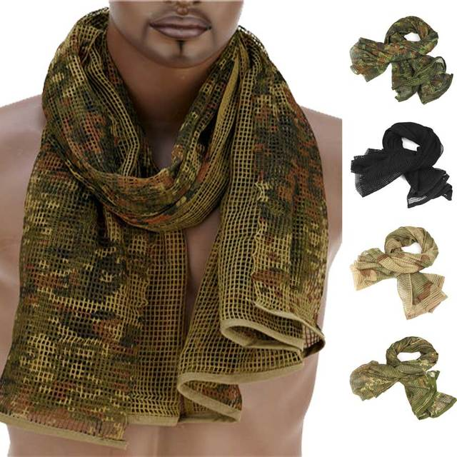 190*90cm Scarf Cotton Military Camouflage Tactical Mesh Scarf Sniper Face Scarf Veil Camping Hunting Multi Purpose Hiking Scarve 1