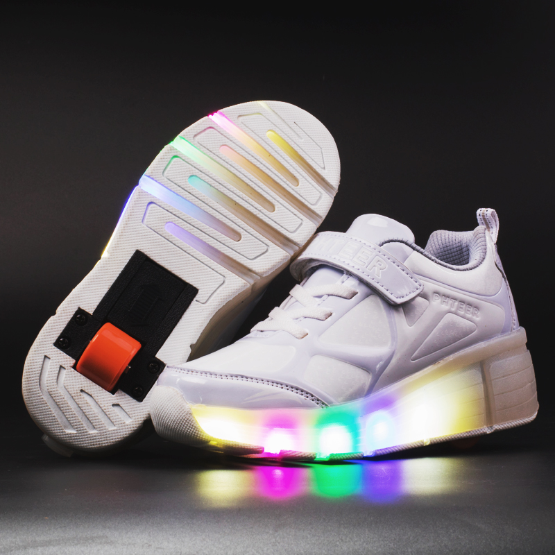 2019 Sneakers Kids Sneakers with Wheels Roller Skate Shoes Children Glowing Sneakers Led Light up Shoes for Boys Girls|Sneakers| |  - title=