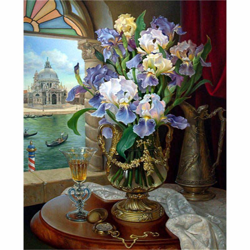 Baisitio DIY pintura por números lienzo pintado a mano flor cuadro moderno arte de la pared para la decoración del hogar de la sala de estar OTG6107