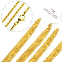 LUXUKISSKIDS hurtownie 10 sztuk łańcuchy naszyjniki złoty/stal nierdzewna wąż łańcuch dla wisiorek z kobiety biżuteria prezent