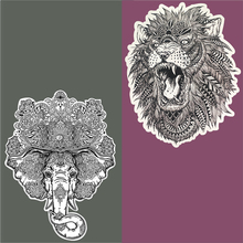 Black and white embroidery domineering lion elephant applique clothes patches iron sewing accessories on