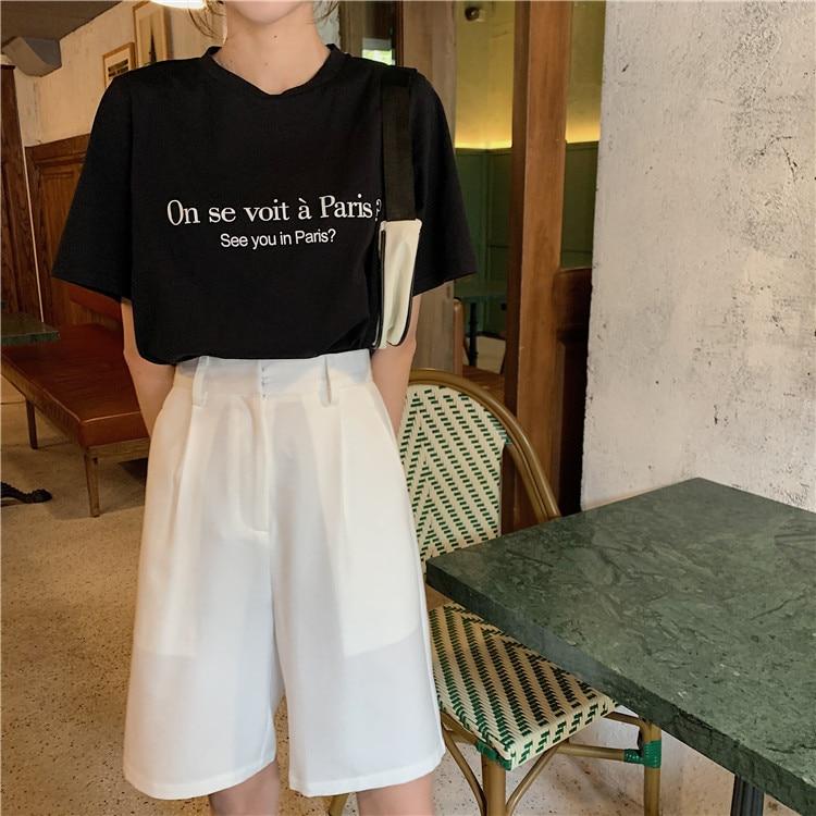 Hdc39ddbbe9814cb5b1f6a8cc40d93158m - Summer High Waist Wide Leg Loose Solid Shorts