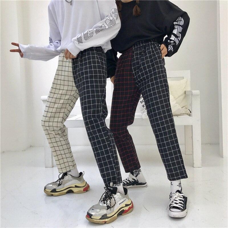 Streetwear Plaid Patchwork Pants Men Joggers 2020 Man Casual Straight Harem Pants Korean Hip Hop Track Pants Trousers Plus Size