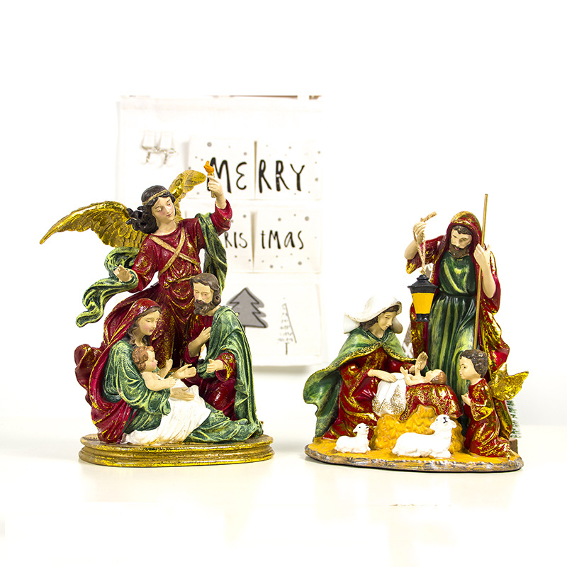 2019 Año Nuevo Navidad colorido pintado resina religiosa artesanías estatua de Navidad adornos mesa de escritorio adornos navideños para el hogar