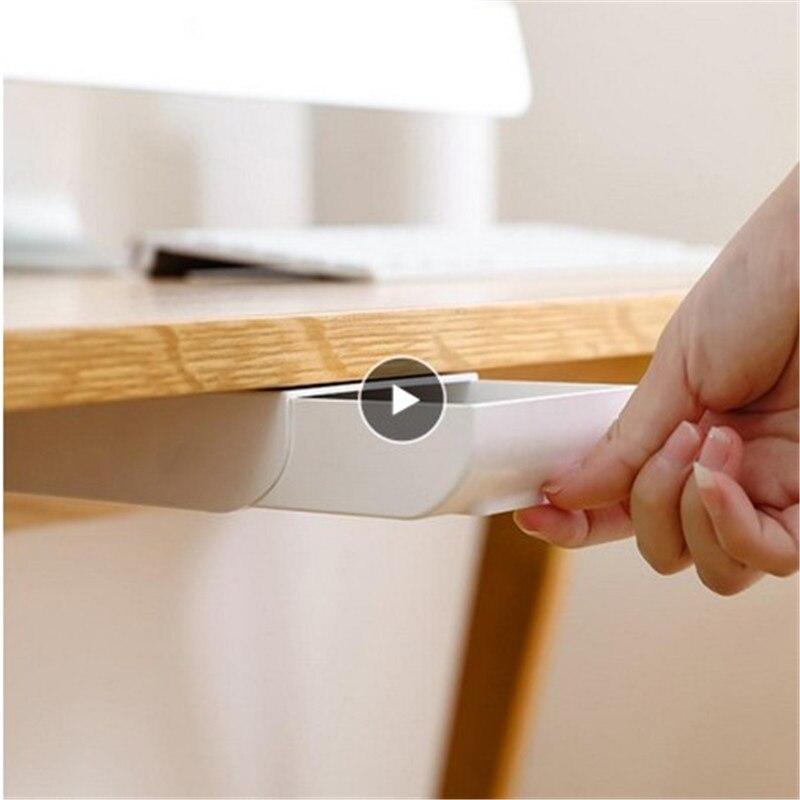 Hidden Table Under Paste Plastic Desk Organizer Memo Pen Stationery Storage Box Case Desk Drawer Divider Stationery Sticky Decor