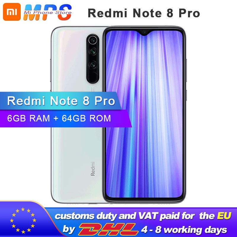 Global ROM Xiaomi Redmi Note 8 Pro 64GB 6GB Mobilephone MTK Helio G90T 4500mAh 64MP Quad Rear Camera  6.53'' 3D Display  Phone