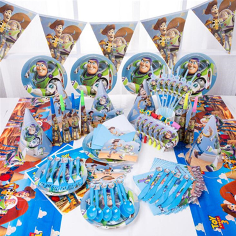 Cartoon Toy Story Disposable Paper Napkins Banner Table Cloth Straws Cup Plates Baby Shower Birthday Party Decoration Supplies
