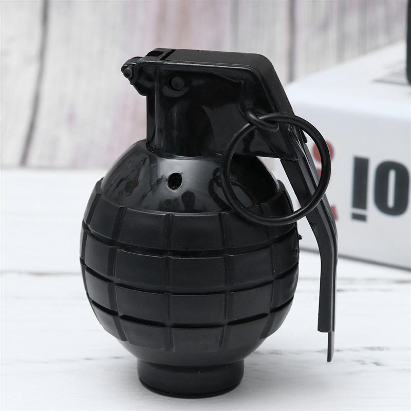 Grenade Props With Shining Light Trick Toys Virtual Sound Effects Hand Grenade Props Military Model Supplies No Battery Black