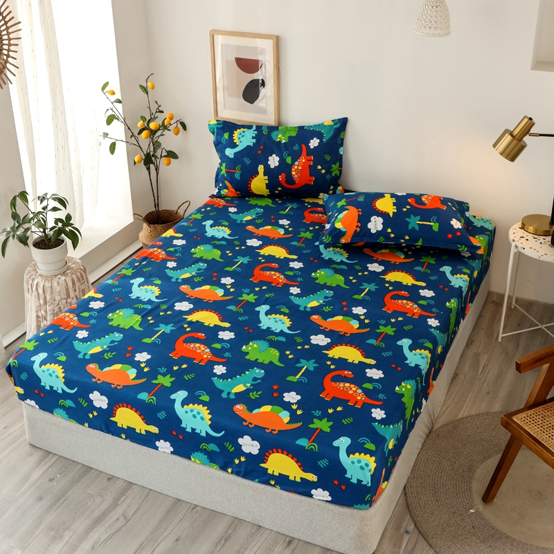 Bonenjoy 3 pcs Fitted Bed Sheets Single drap de lit Geometric Pattern Stitching Mattress Cover with elastic For Double Bed Sheet 12