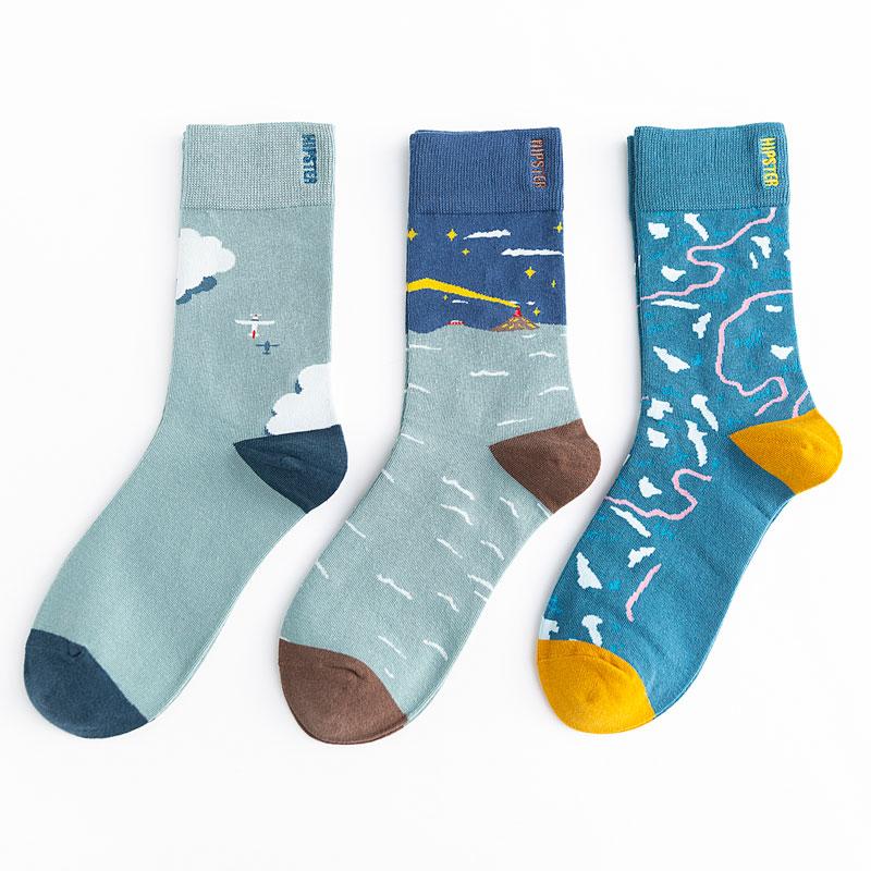 Unisex Painting Style Men Socks 100 Cotton Harajuku Colorful Full Socks Men Standard 1 Pair Size 35-43