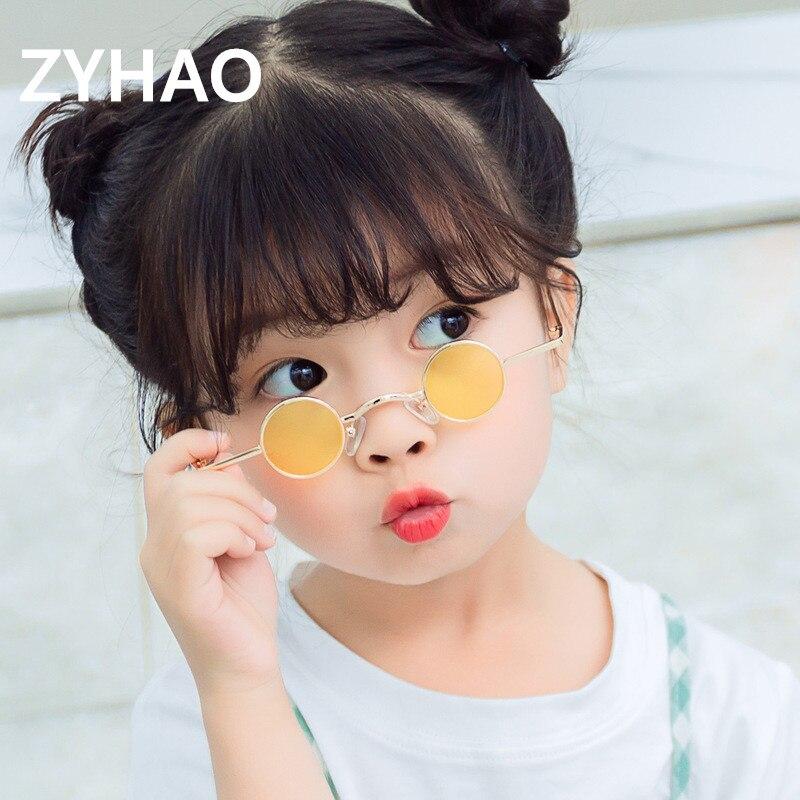 2020 Small Frame Kids Sunglasses Children Fashion Designer Steampunk Round Sunglasses Baby Boys Girls Oculos De Sol Feminino