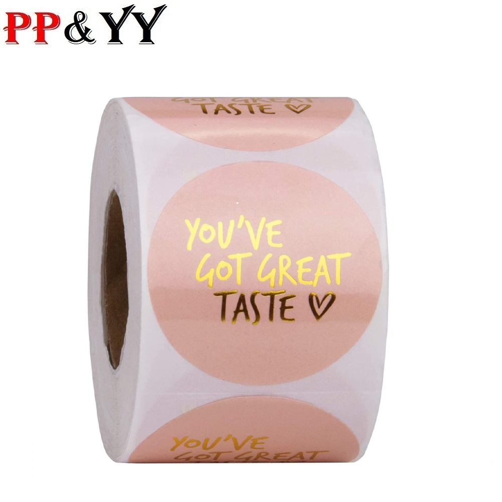 You've Got Great Taste Stickers 1inch 500pcs Paper Pink Stickers Seal Labels Gold Business Packing Label Stationery Sticker