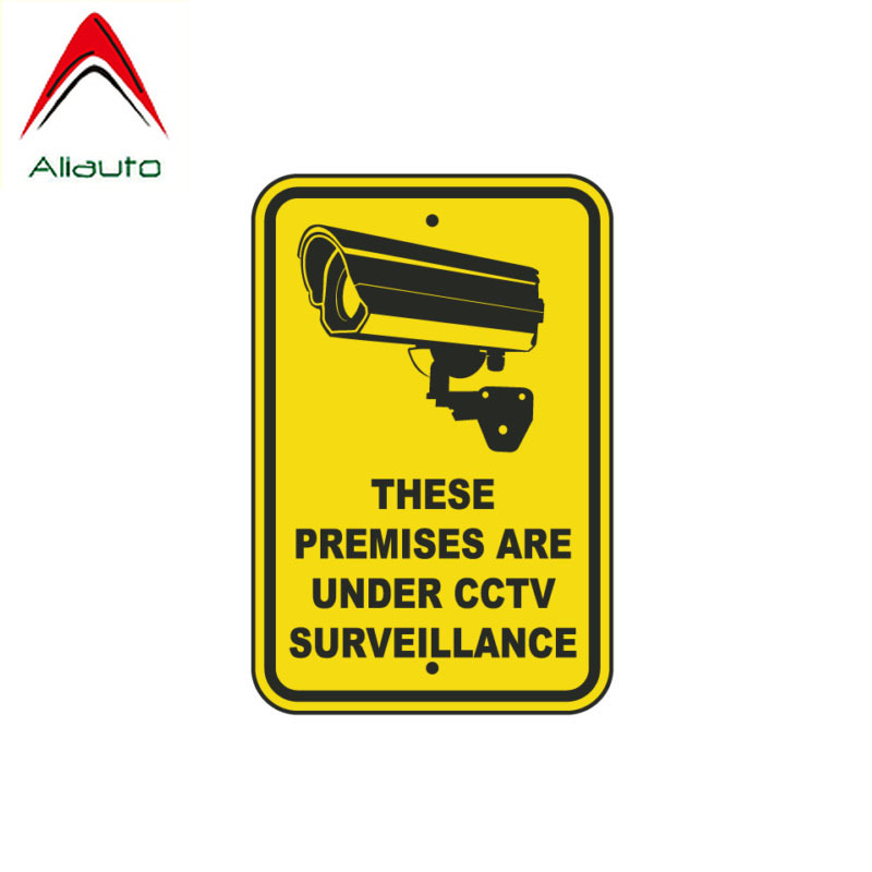 Aliauto Warning Car Sticker Personality These Premises Are Under Cctv Surveillance Funny Waterproof Sunscreen Decal PVC,12cm*8cm